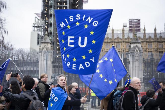 Près de 200 opposants au Brexit ont marché de Downing Street à la Maison de l'Europe, le siège de l'Union européenne au Royaume-Uni. Sur leur chemin, des partisans d'extrême-droite de Brexit, les ont insulté Londres, le 31 janvier.