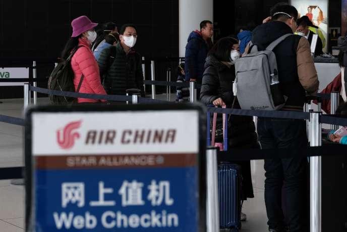 Dans le terminal de l'aéroport international John-F.-Kenny de New York qui dessert les vols à destination de la Chine, le 31janvier.