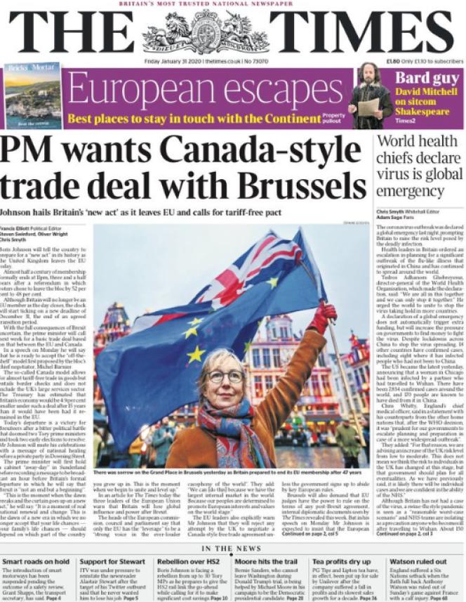 « Une» du journal «The Times» du vendredi 31 janvier.