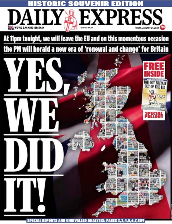 « Une» du journal «Daily Express » du vendredi 31 janvier.