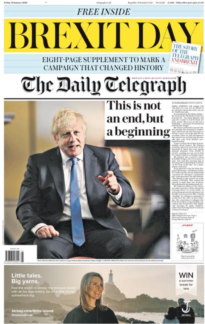 « Une» du journal «The Daily Telegraph » du vendredi 31 janvier.