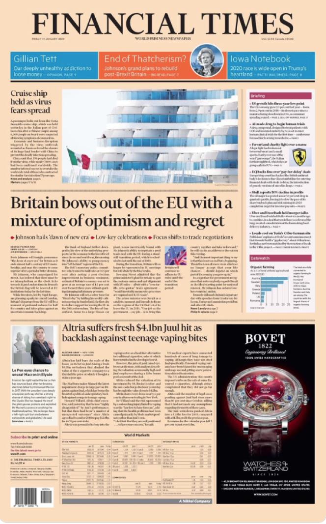 « Une» du journal «Financial Times » du vendredi 31 janvier.