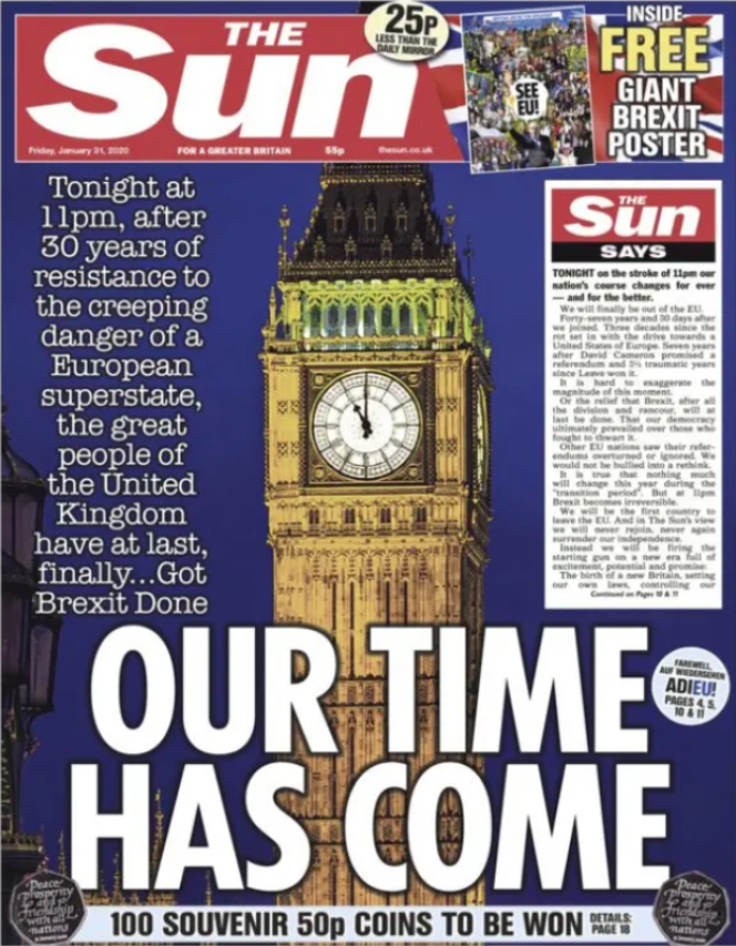 « Une» du journal «The Sun » du vendredi 31 janvier.