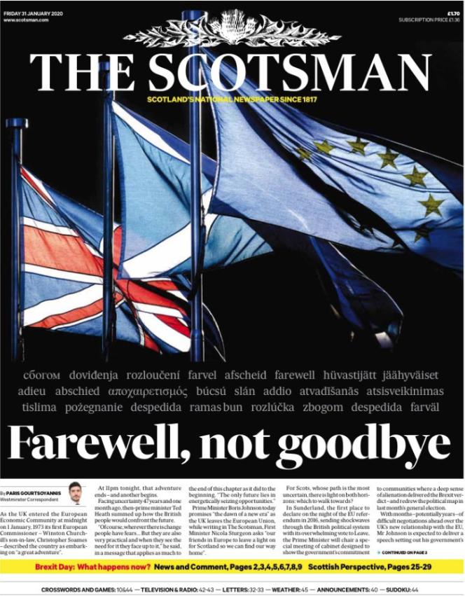 « Une» du journal «The Scotsman» du vendredi 31 janvier.
