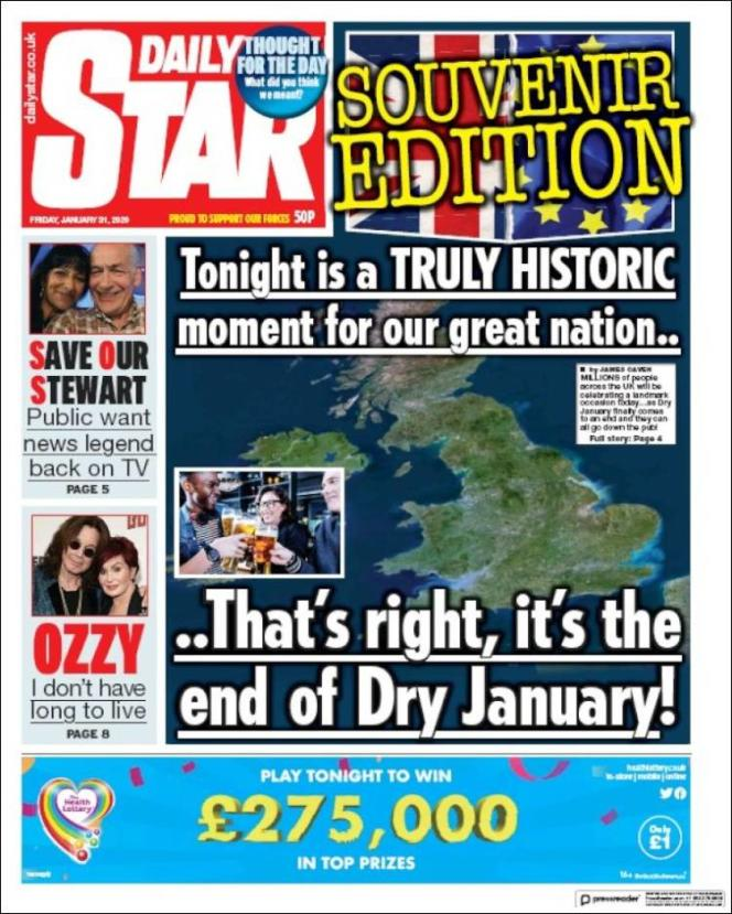 « Une» du journal« Daily Star» du vendredi 31 janvier 2020.