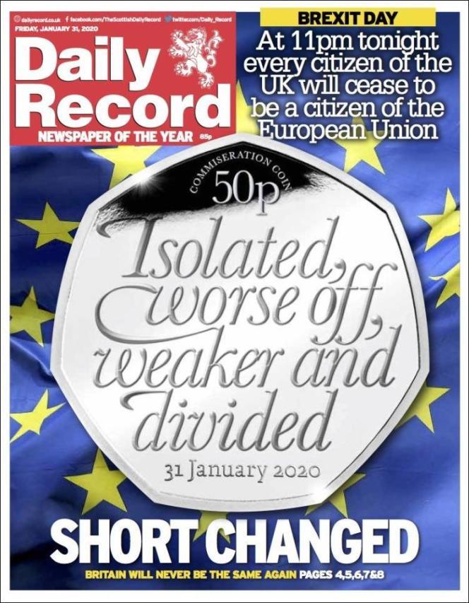 « Une» du journal« Daily Record» du vendredi 31 janvier.