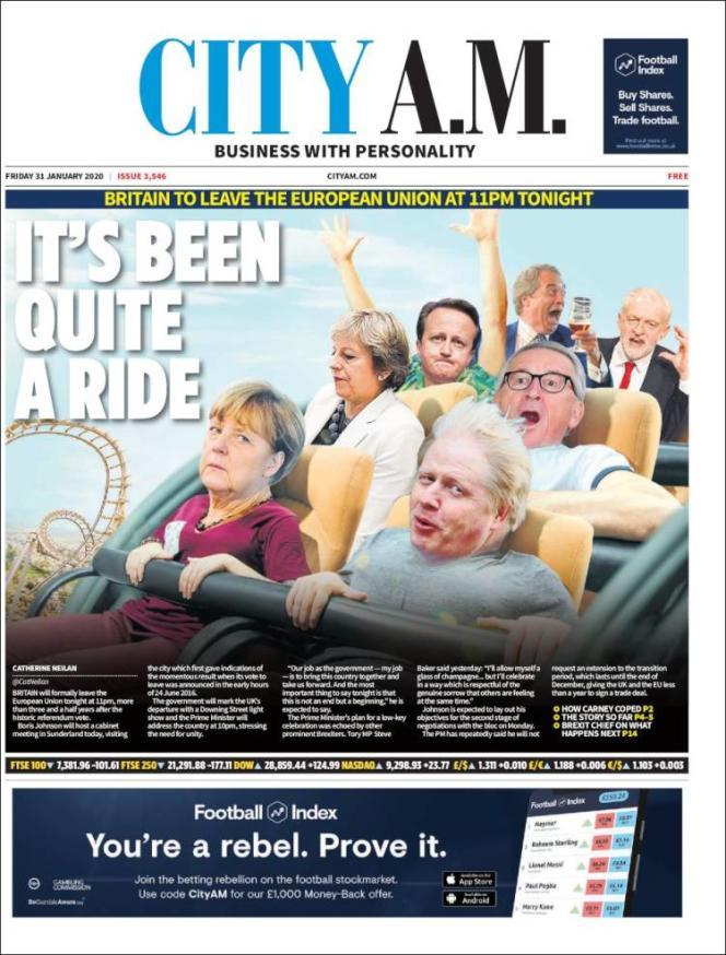 « Une» du journal«CITY A.M.»du vendredi 31 janvier 2020.