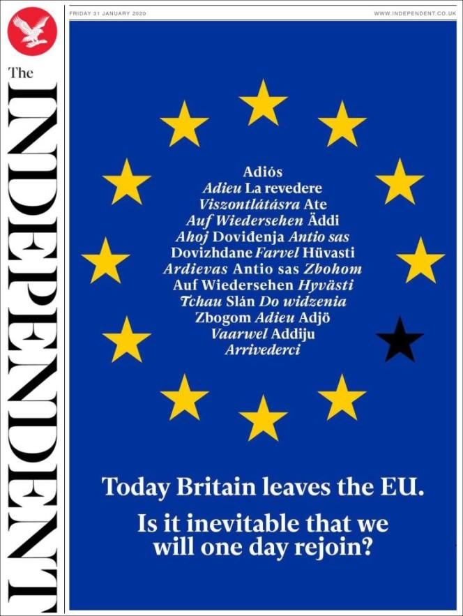 « Une » du journal « The Independent » du vendredi 31 janvier 2020.