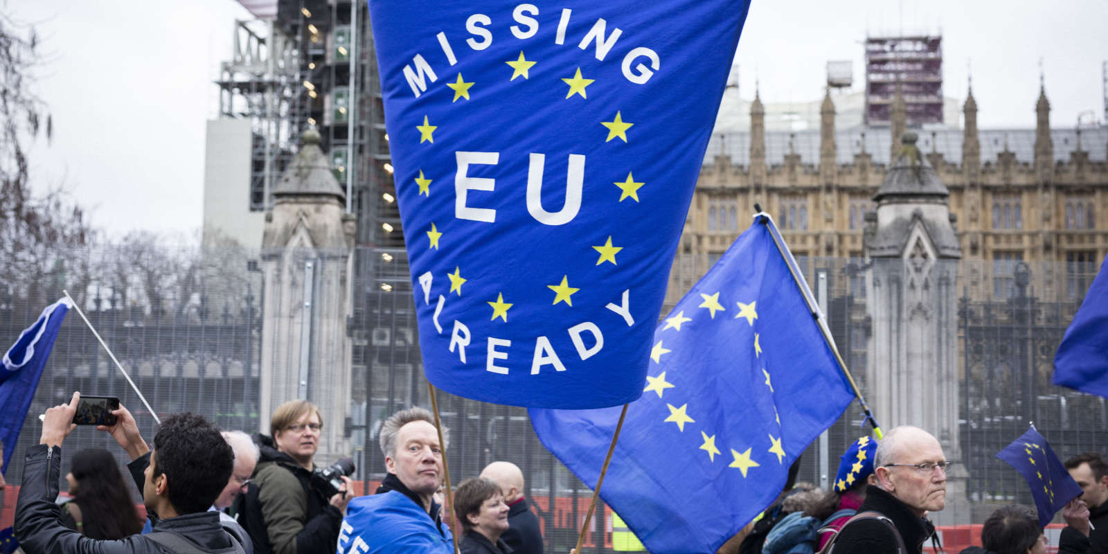 Environ 200 opposants à Brexit ont marché de Downing Street à la Maison de l'Europe, le siège de l'Union européenne au Royaume-Uni. La marche a été marquée par les insultes des partisans d'extrême-droite de Brexit, alors qu'il passait à Whitehall et devant le Parlement britannique. Photo © Ed Alcock / M.Y.O.P. 31/1/2020 About 200 opposants of Brexit marched from Downing Street, to Europe House, the UK HQ of the European Union. The march was dogged by insults from far-right supporters of brexit, as it passed down Whitehall and in front of the British parliament. Photo © Ed Alcock / M.Y.O.P. 31/1/2020