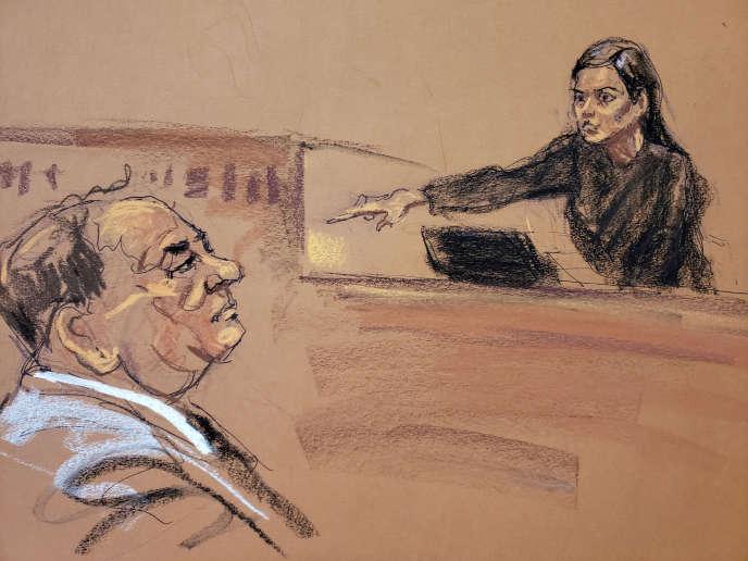 Jessica Mann pointe du doigt le producteur, Harvey Weinstein, lors de son procès à New York, le 31 janvier.
