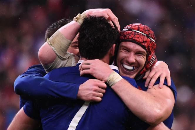Les Français après leur victoire, le 2 février 2020.