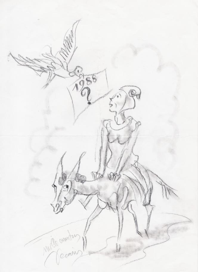 Dessin à la mine de plomb de Decaris (1987).