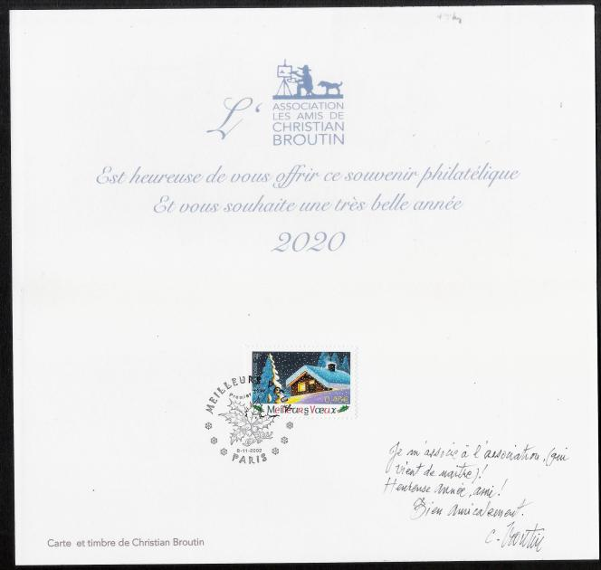 Intérieure de la carte de voeux de Christian Broutin pour l'association Les Amis de christian Broutin. Timbre« meilleurs voeux» dessiné par christian Broutin (2002).