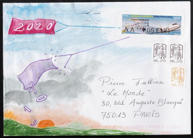 Art postal sur enveloppe, par Claude Perchat (pastel).