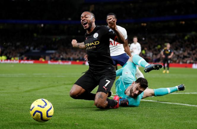 L'attaquant de Manchester City Raheem Sterling lors d'un match de Premier League contre Tottenham, le 2février2020.