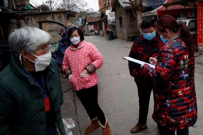 Un comité de quartier,à Jiujiang (Chine), le 2 février.