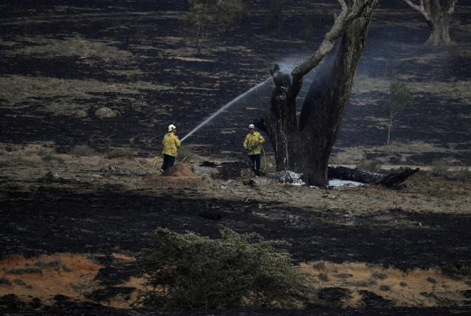 Intervention de pompiers australiens à Bumbalong, Nouvelle-Galles du Sud, le 2 février.