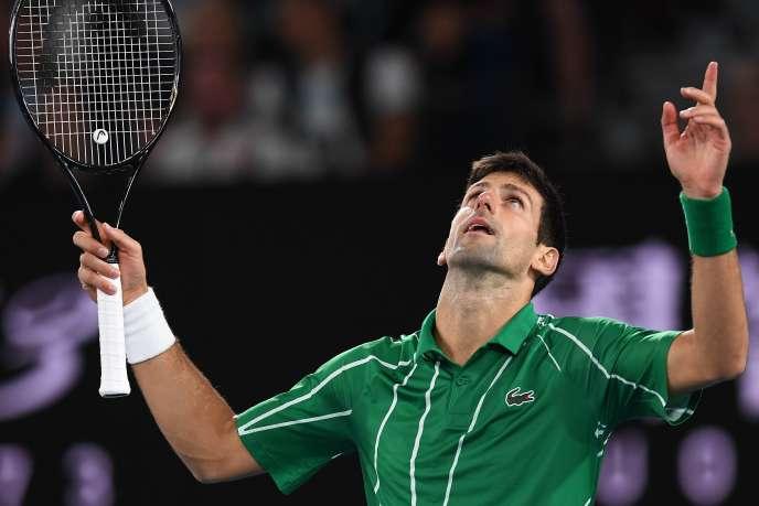Novak Djokovic lors de son match face à Dominic Thiem en finale de l'Open d'Australie.