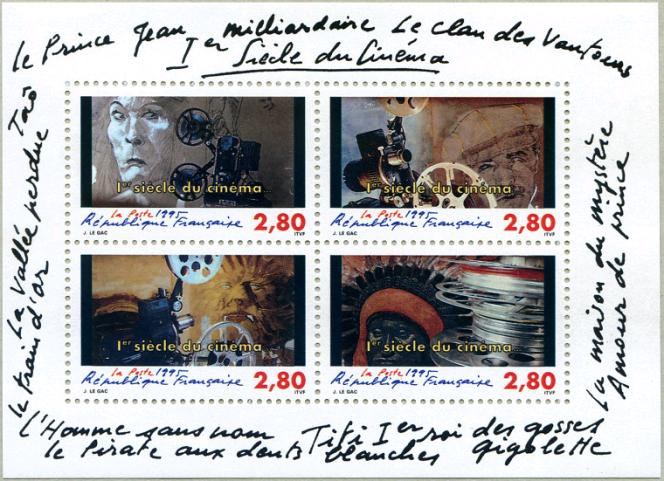 Le centenaire du cinéma vu par Jean Le Gac, pour La Poste, en 1995.