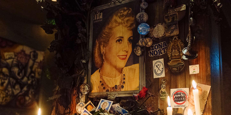 Eva Perón's altar at Perón Perón restaurant, Buenos Aires, Argentina, on Friday, Dec. 6, 2019.