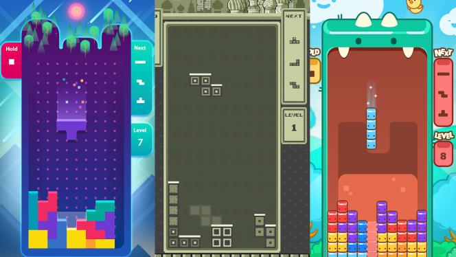 Des tétronimos minimalistes, rétro ou sous forme de monstres mignons : voici trois des différents univers graphiques de la nouvelle application «Tetris».