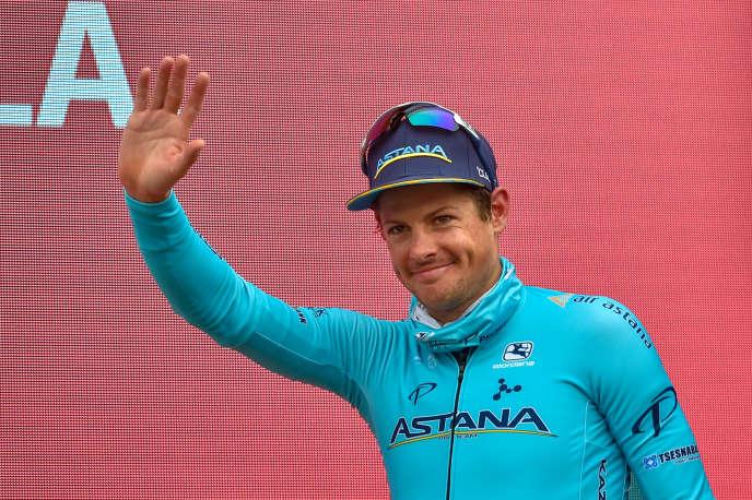 Jakob Fuglsang, après sa victoire lors de la 16e étape du Tour d'Espagne2019.