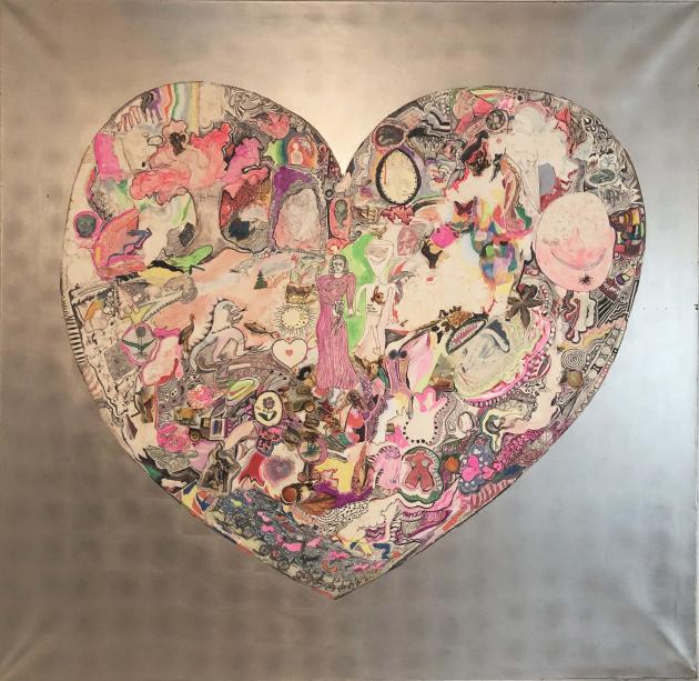 Niki de Saint Phalle, « My Heart», 1965. Peinture collage sur bois. Collection privée.