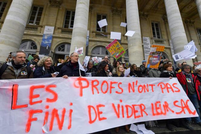 Une précédente manifestation du corps enseignant à Bordeaux, le 22 janvier 2020.