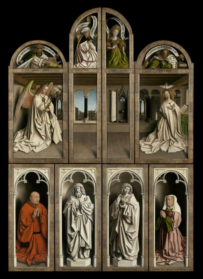 «L'Adoration de l'Agneau mystique» (1432), de Jan et Hubert Van Eyck, volets extérieurs, cathédrale Saint-Bavon, à Gand (Belgique).