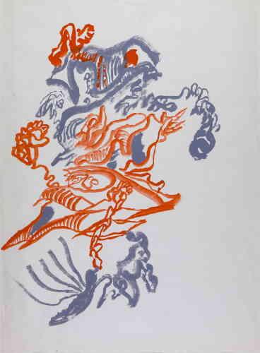 «L'utilisation de la gouache, tout à fait exceptionnelle dans l'œuvre d'Unica Zürn, permet de mettre en évidence non seulement la permanence d'un trait mais en plus un style à la fois modifié et semblable à ceux des dessins à l'encre.»