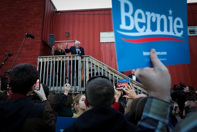 Le candidat à l'investiture démocrate à la présidentielle Bernie Sanders, à DesMoines, dans l'Iowa, le 3 février.