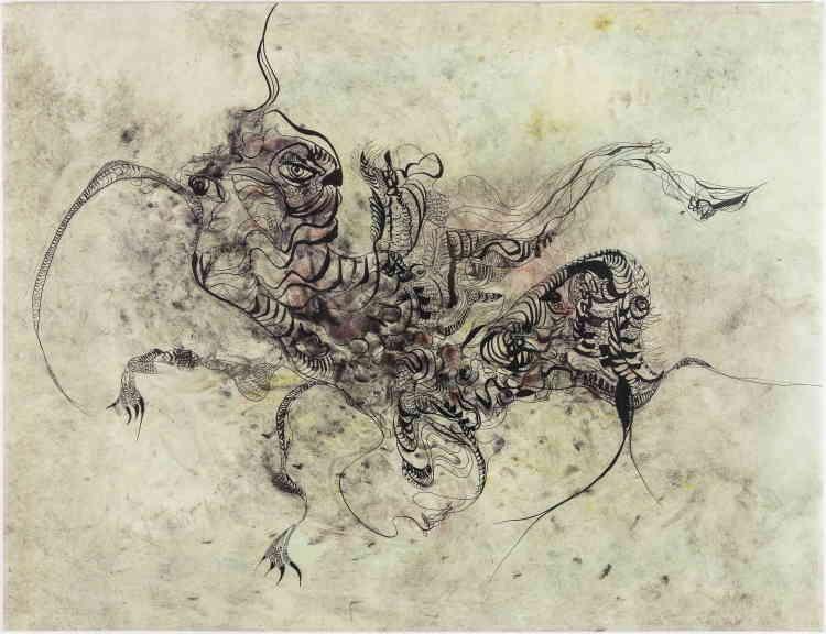 «La technique de l'aquarelle est devenue centrale dans l'exécution de grands formats produits par Unica Zürn à partir des années 1965, ce qui crée notamment des effets de flottement dans le rapport qu'entretiennent motif et fond.»