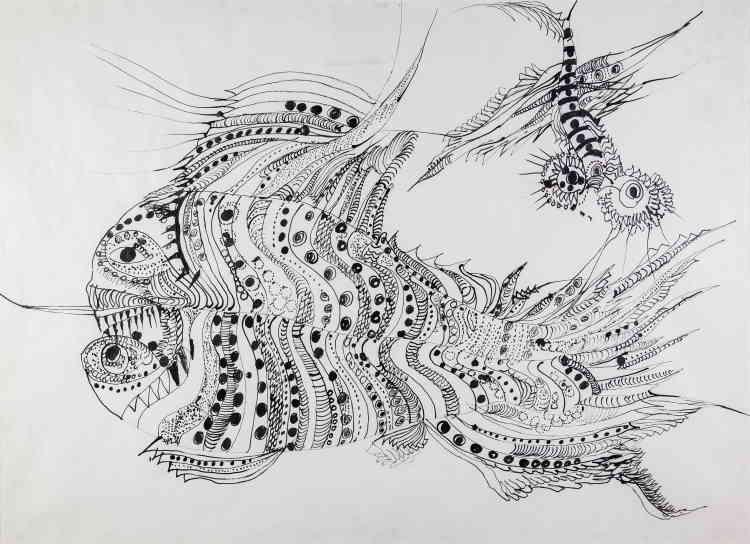 «Œuvre emblématique de la collection, ce poisson fantastique est une des rares réalisations d'Unica Zürn à l'encre conservée actuellement à l'hôpital Sainte-Anne alors que sa production fut très prolixe. Cette pièce est représentative du travail sur la ligne, mais aussi sur la thématique du bestiaire qui se retrouve dans plusieurs créations de l'artiste.»