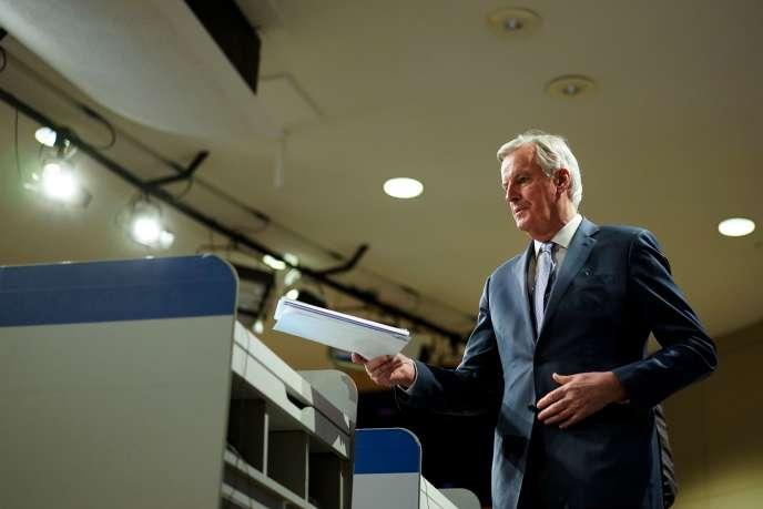 Michel Barnier lors d'une conférence de presse au sujet du Brexit, au siège de la Commission européenne à Bruxelles, le 3 février.