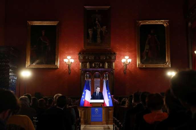 Le président français, Emmanuel Macron, à l'université Jagellon, à Cracovie, le 4 février 2020.