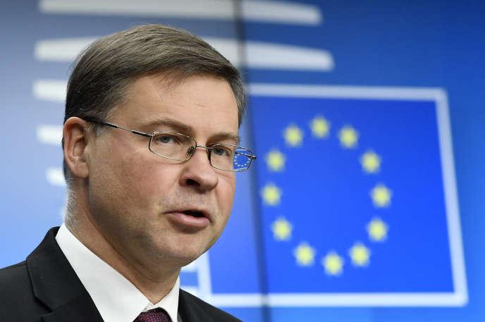 Valdis Dombrovskis, le vice-président de la Commission européenne chargé des questions économiques, à Bruxelles, le 21 janvier.