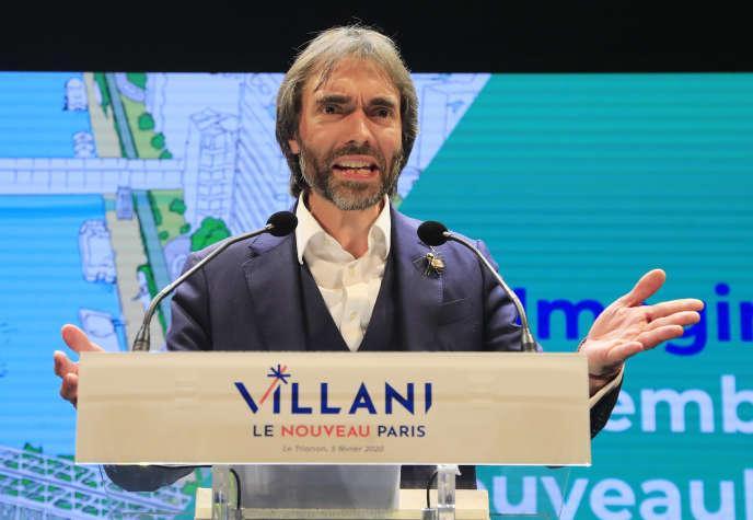 Le candidat à la mairie de Paris Cédric Villani, mercredi 5 février, lors de son troisième grand meeting de campagne.