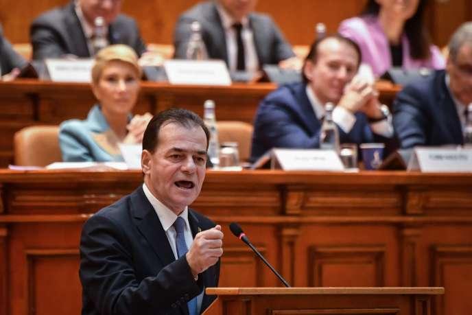 Le premier ministre roumain Ludovic Orban lors du vote de la mention de censure contre son gouvernement au Parlement, à Bucarest le mercredi 5 février.