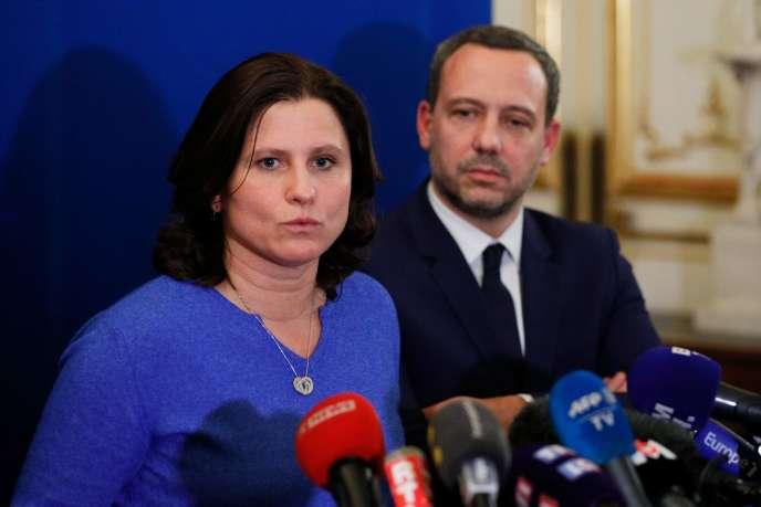 La ministre des sports Roxana Maracineanu et Adrien Taquet, secrétaire d'Etat chargé de la protection de l'enfance étaient à la Convention, le vendredi 21 février à Paris.
