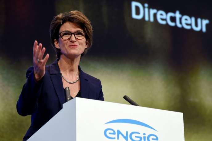 Le 17 mai 2019, la directrice générale du groupe Engie,Isabelle Kocher,en meeting à Paris.