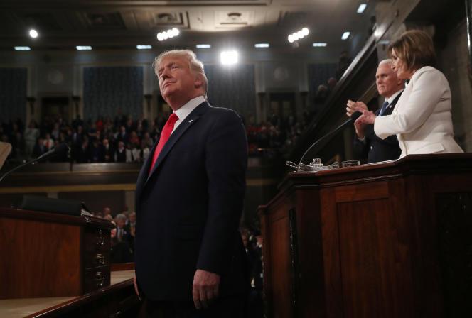 Donald Trump lors de son discours sur l'état de l'Union de devant le Congrès américain, à Washington, le 4 février.
