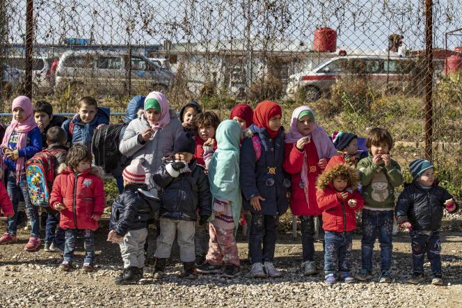 Des enfants dans le camp de Roj, dans le nord-est de la Syrie, en janvier 2020.