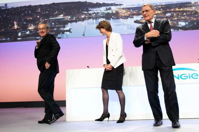 Jean-Pierre Clamadieu, Isabelle Kocher et Gérard Mestrallet, lors de l'assemblée générale annuelle d'Engie à Paris, en mai 2018.