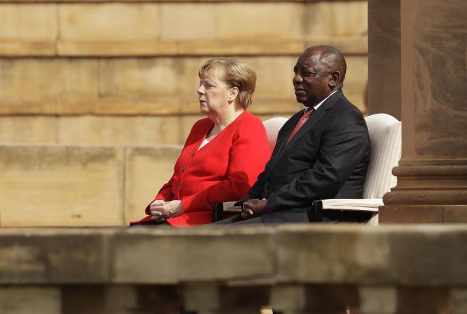 La chancelière allemande Angela Merkel et le président sud-africain Cyril Ramaphosa à Pretoria, le 6 février 2020.