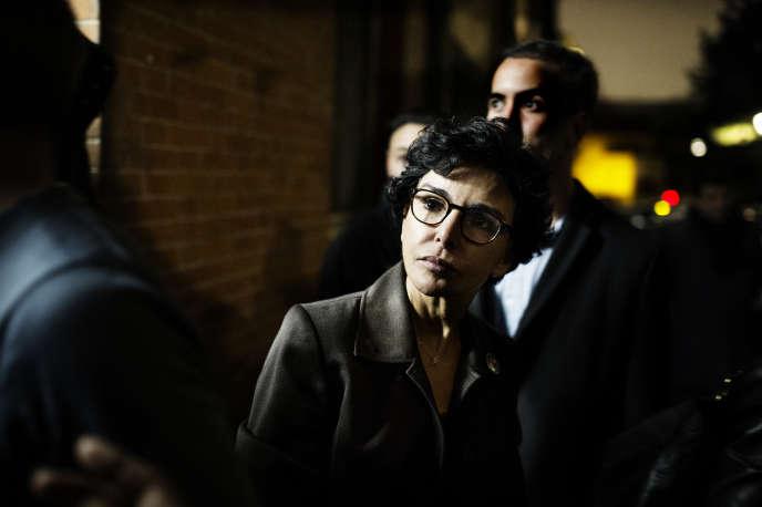 Rachida Dati en campagne auprès de responsables associatifs, augymnase Ronsard dans le 18e arrondissement de Paris, le 30 janvier.