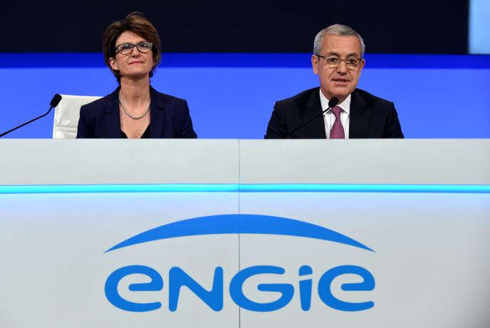 La directrice générale d'Engie, Isabelle Kocher, et le président de l'énergéticien, Jean-Pierre Clamadieu, à Paris, en mai 2019.