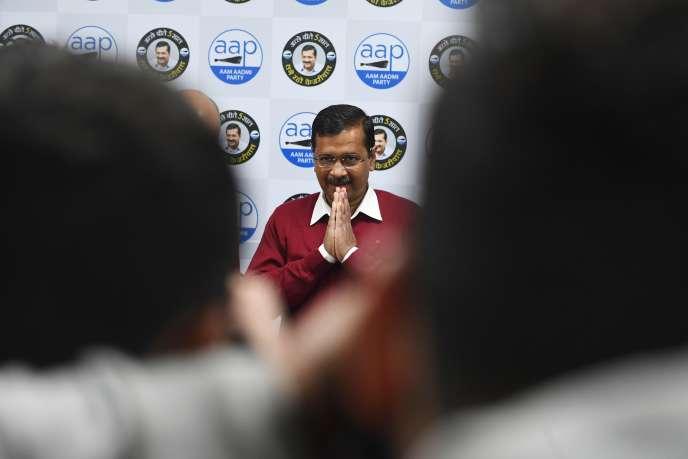 Arvind Kejriwal, candidat à sa réélection à la tête de l'assemblée législative de New Delhi, dans la capitale indienne, le 4 février.