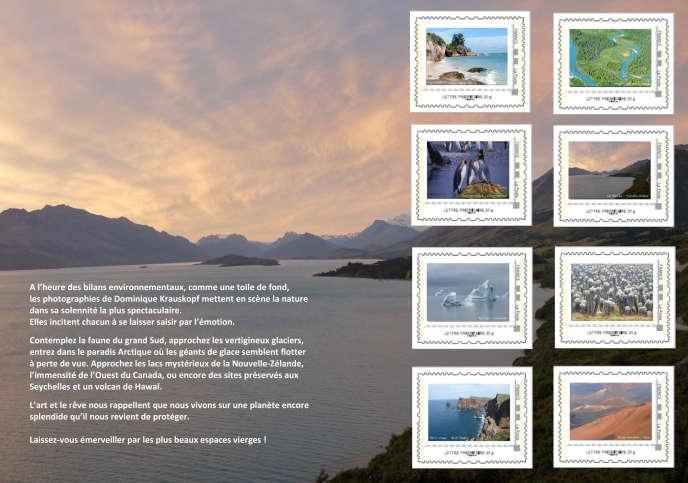 Les huit timbres du collector« Splendeurs naturelles de la planète » d'après des photos de Dominique Krauskopf.