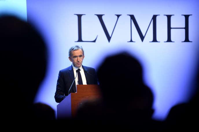 Le patron de LVMH, Bernard Arnault, lors de la présentation des résultats 2019 du groupe de luxe, à Paris, le 28 janvier.
