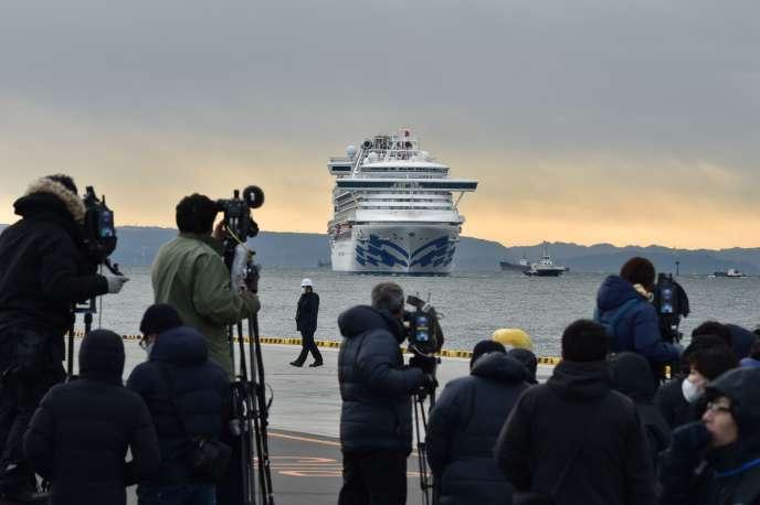 Le navire de croisière «Diamond-Princess» arrive au port de Yokohama, au Japon, le 6 février.